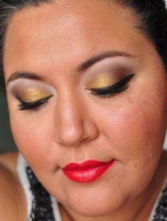 Golden brown cat eye with red lips. #eyeshadow #lipstick #paintedladies #365
