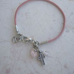 Rose Pink Leather Bracelet with Cross Charm You by DesignsbyNoa