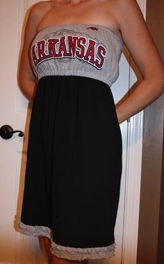 Made from t-shirts.  Cute game  day dresses.