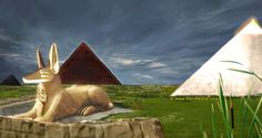 Caption: An artist's impression of what the Great Pyramids and Sphinx of Giza may have looked like when they were originally built. Note that the water surrounding the sphinx actually formed a sacred lake that would have submerged half of its body.