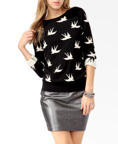 soar bird, style, print sweater, bird prints, forev 21, forever21, women's sweaters, birds, 21 soar