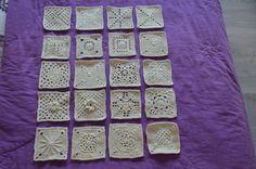 De eerste 10 verschillende granny's. Van alle 10 2 stuks gemaakt. dd 20 april 2014