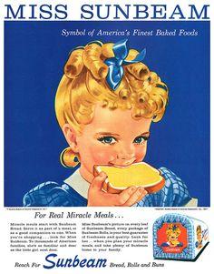 An classic Sunbeam Bread advertisement, 1957. #vintage #1950s #food #ads