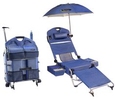 Cool beach chair, I want one!! Opens from luggage to lounger in 10 seconds! No assembly required! Weighs just 22 lbs.     New design combines lounger/chair, umbrella with patented attachment, coolers, tote bag, pillow and backpack.     Easily transports on ball bearing wheels with telescoping handle or as a backpack     Fully adjustable from seated to horizontal position. Face down hole can be used for reading on your stomach.