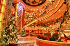 A bit of holiday cheer!  The Golden Princess Atrium is decked with garland and lights in the spirit of the season.