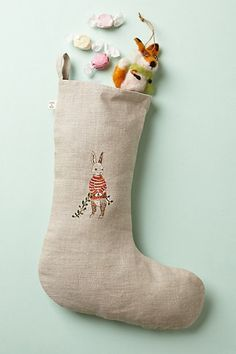 Embroidered Animal Stocking by Coral & Tusk coral, animals, embroid stock, embroid anim, christmas stockings, holiday idea, holiday craft, linen, anim stock