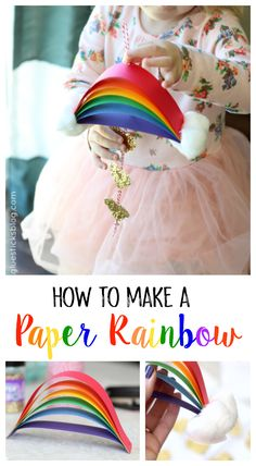 St. Patrick's Day Rainbow Craft for KidsS: A bright, colorful, and glittery St. Patrick's Day rainbow craft for kids! Use craft paper in a rainbow of colors to make this quick and easy rainbow. Then add cotton balls for the clouds!