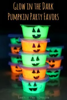 Glow in the dark pumpkin slime party favors - Kids will LOVE these!