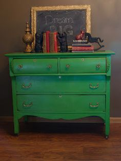 Vintage Green dresser  chalky painted and distressed     http://www.restorationredoux.com/?p=41