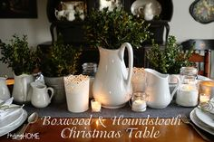 Christmas Tablescape, Christmas Table Setting, Boxwood and Houndstooth from Finding Home