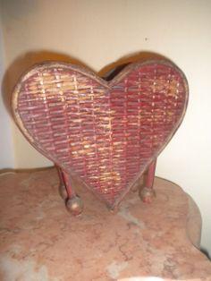 Rare Antique Heart Shaped Wicker Basket / Vase Circa 1910