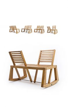Park bench, wooden seat, or rocking chair? Double View Bench designed by Chloe De La Chaise for Outdoorz Gallery merges these three typologies together into one form that offers the best of each option