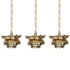 Three Brass Pendant Lotus Lights   1stdibs.com