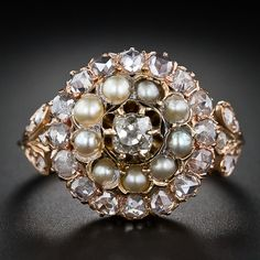 Victorian Diamond and Pearl Cluster Ring