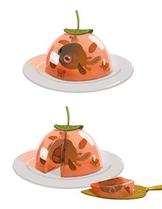 Tadpole en gelée. Steamed 6 week old tadpole with basil and edible flowers in a tomato wine gelatin.