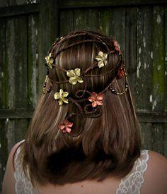 Sorsha - Rustic Medieval Bridal Headdress - Hair wreath - Woodland Wedding Crown - CUSTOM COLORS. $55.00, via Etsy.