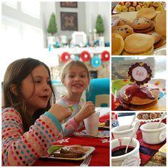 PJs & Pancakes Party pancak bar, pancake party, birthday parties, fruit kabobs, pancak parti, pancak birthday, food bars, parti idea, birthday ideas