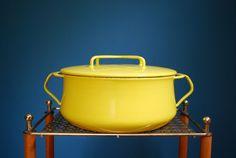 Vintage Yellow Dansk Kobenstyle Enamel Casserole. $42.00, via Etsy.
