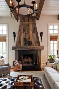 salvaged wood mantle