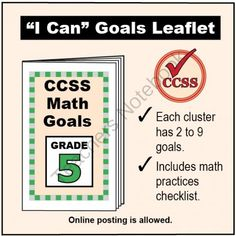 FREE Grade 5 �I Can� Math Goals Leaflet for Parents from K-8 MathPaths on TeachersNotebook.com -  (3 pages)  - This leaflet lists 51 clear goals to meet Grade 5 Common Core math, written as �I can� statements. There is also a math practices checklist.