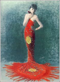 Hand-tinted photo of Anna May Wong, 1925, by Ed Sheriff Curtis