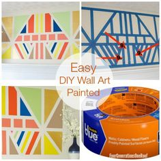 *EASY HOW TO* Painted DIY wall art tutorial www.fourgenertionsoneroof.com #HomeofScotchBlue #3MPartner @ScotchBlue Painter's Tape Painter's Tape Painter's Tape