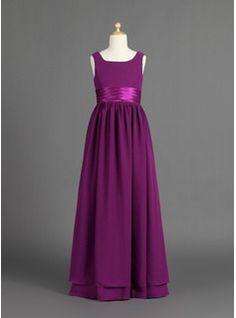 Junior Bridesmaid Dresses - $145.99 - A-Line/Princess Scoop Neck Floor-Length Chiffon Charmeuse Junior Bridesmaid Dress With Ruffle  http://www.dressfirst.com/A-Line-Princess-Scoop-Neck-Floor-Length-Chiffon-Charmeuse-Junior-Bridesmaid-Dress-With-Ruffle-009022481-g22481