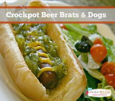 Crockpot Beer Brats & Dogs | Slow Cooker Sunday | TodaysCreativeBlog.net