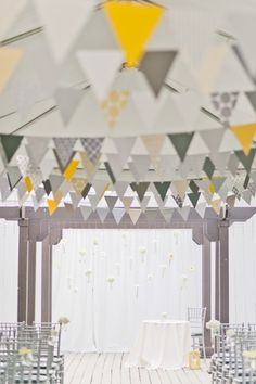white yellow and grey wedding, wedding ideas yellow and gray, white ceremoni, flag, hanging flowers