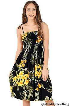 Ladies Tube Dress Black & Yellow Floral - Plumeria & Hibiscus Hawaiian Print. Pretty summer dress for a bbq, cruise or luau party. #ladiesdress #tubedress #luaudress #springbreak #cruisedress #vacationdress #summerdress #hawaiiandress #floraldress #cruisewear #cruise #fashion #ladiesfashion #sunset #hibiscusdress #luauparty #luaupartydress #tropical-dress #islandstyleclothing