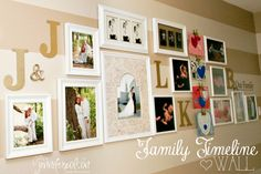 galleri, photo walls, family photos, family portraits, gallery walls, basement, famili timelin, wooden letters, timelin wall