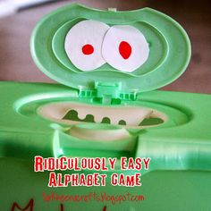 """Tarkheena Crafts: Ridiculously Simple Alphabet Game """"Monster, Monster, open wide.  What letter do you have inside?"""""""