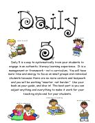 includes ideas for each part, Daily 5 letter to parents and stamina graph
