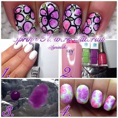 1. Paint nails with white nail polish. 2. Make sure that your base coat is dry. Now you have to mix nail polish with nail polish remover (I'm using foil and my old brush) 3. Here u can see how it should looks like (right one is just a drop of nail polish, left one is mixed with nail polish remover) 4. Add details (black acrylic paint, just make some lines to create petals and some dots to make it prettier).Cover with top coat.