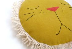 Leo the Lion pillow with fringe by MiniBoheme on Etsy