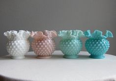 Pink Milk Glass Hobnail Vase by Fenton by BarkingSandsVintage