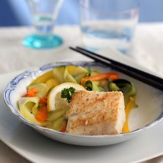Ginger cod fish with zucchini ribbon salad.