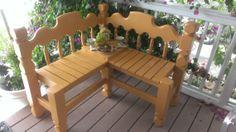 DIY Yellow Garden or Patio corner bench  by Youniqattictreasures...Etsy