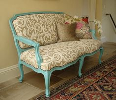Turquoise Settee by Michaels Upholstery, via Flickr