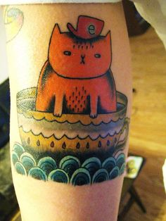 new cattoo.    artwork of Gemma Correll. done by Oi at Stay True Tattoo.