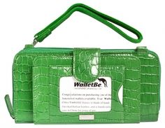Womens Leather Cell Phone Accordion Wallet, Doublewide