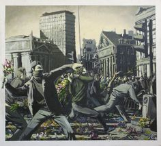 banksy's flower thrower in riot painting.       i like street art with a good sense of humor.       ART IN THE STREETS @MOCA