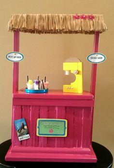 DIY American Girl Doll Kanani's Shave Ice Stand!  made from clementine crate, scraps of wood, cardboard. Would also make a great lemonade stand if you already have Kanani's stand.