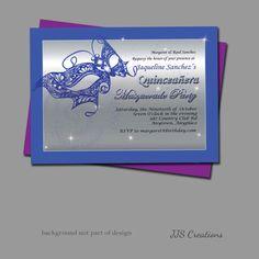Quinceañera Customized Masquerade Invitation by JJsquaredCreations