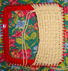 woven rectangle.  How to use a potholder loom to create other shapes.