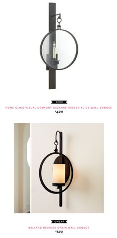 Home Click Visual Comfort Suzanne Kasler Alice Wall Sconce $420  -vs-  Ballard Designs Orsin Wall Sconce $129