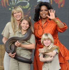 Oprah chats with the Irwin family