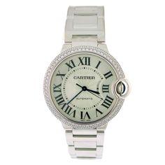CARTIER White Gold and Diamond Ballon Bleu Mid-Sized Wristwatch -1st dibs