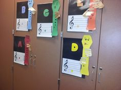 Recorder Posters:  Includes letter names, fingering, and notation