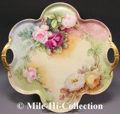 "18"" x 171/2"" handpainted Haviland Limoges tray via Mile-Hi-Collection on ebay http://www.ebay.com/itm/LIMOGES-FRANCE-HAND-PAINTED-ROSES-TRAY-18-/190671068680?_trksid=p5197.m1992&_trkparms=aid%3D111000%26algo%3DREC.CURRENT%26ao%3D1%26asc%3D14%26meid%3D2971204296238755473%26pid%3D100015%26prg%3D1006%26rk%3D1%26sd%3D190671068680%26"